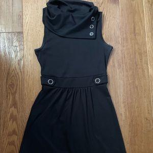 Mod Cloth black button funnel neck dress